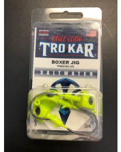 Eagle Claw 3/4oz Saltwater Box Jig with Eyes + 5/0 Hook - 3/pk ~ Chartruese