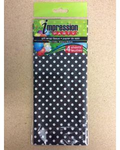 Tissue Paper - BLACK w/WHITE POLKA DOTS ~ 4 per pack