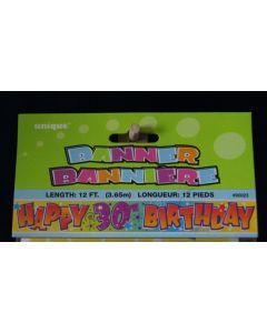"Foil Banner - 12' ~ ""Happy 30th Birthday"""