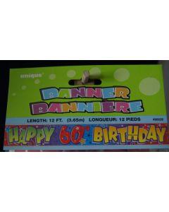 "Foil Banner - 12' ~ ""Happy 60th Birthday"""
