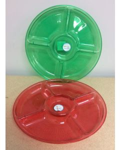 """Christmas Red or Green Plastic 5-Section Dish ~  13"""" D"""