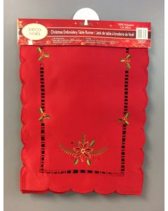 Christmas Embroidered Table Runner ~ Red