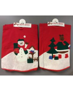 """Tree Skirt w/Embroidery 35.5""""D ~ 2 asst"""