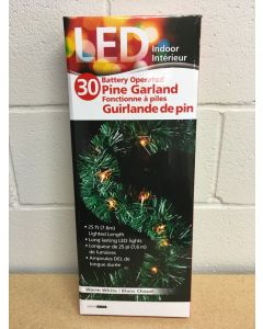 Christmas Pine Garland w/30 LED Battery Operated Lights ~ 25'