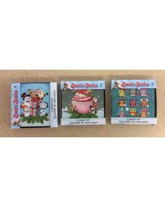 """Christmas 4"""" Square Coaster Set ~ 3 asst"""