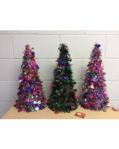 "Christmas Multi-Colored Tinsel Tree ~ 18"""