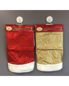 """39""""D Christmas Tree Skirt - Glitter with Fur Trim ~ 2 assorted"""