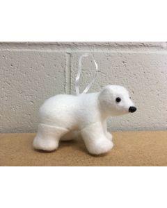"Christmas Tree Flocked Standing Polar Bear Ornament ~ 4.5"""