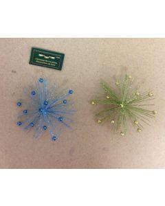 Beaded Tip Starburst Ornament ~ 2 asst. colors