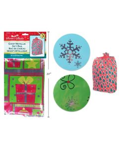 """Christmas Metallized Gift Bags - 31"""" x 57.5"""" ~ 1 per pack"""