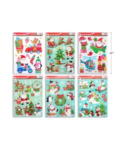 Christmas Glitter Window Clings ~ 6 assorted