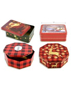 Christmas Octogonal / Oblong Cookie Tins ~ Large