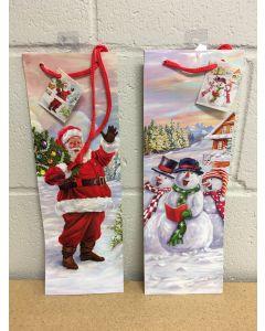 Bottle Christmas Gift Bag ~ Glossy Santa / Snowman