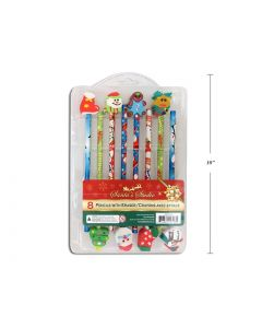 Christmas Pencils with Die-Cut Erasers ~ 8 per pack