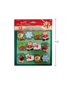 Christmas Die-Cut Erasers ~ 12 per pack