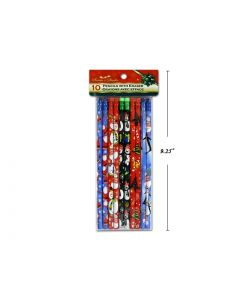 Christmas Pencils w/Erasers ~ 10/pk