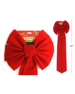 """Christmas Red Velvet Bow - 6 Loops ~ 10-1/2"""" x 32""""L"""