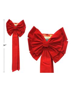 """Christmas Red Velvet Jumbo Bow - 13 Loops ~ 18"""" x 54""""L"""