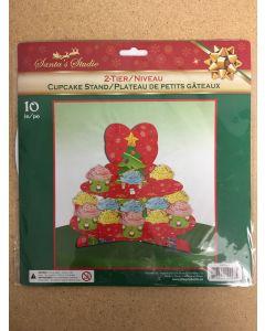"""Christmas 2-Tier Cupcake Stand ~ 10"""""""