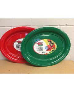 """Christmas Oval Plastic Platter ~ 18-3/4"""""""