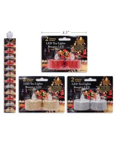 Christmas Glitter Flickering LED Tealight Candles ~ 2/pk