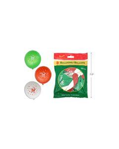 "Christmas Printed Balloons - 12"" ~ 8 per pack"