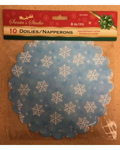 """Christmas Grease Proof Snowflake Paper Doilies - 8"""" ~ 10 per pack"""