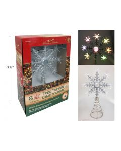 """Christmas Battery Operated 8-LED Color Changing Snowflake Tree Topper ~ 11.5"""""""