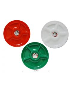"""Christmas 5-Section Round Party Platter ~ 12.75"""" D"""