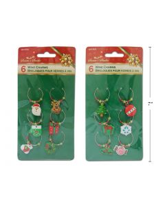 Christmas Beaded Wine Charms ~ 6 per pack