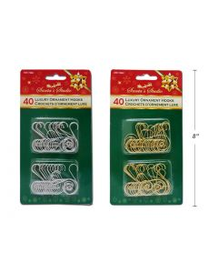 Christmas Scroll Ornament Hooks ~ 40 per pack