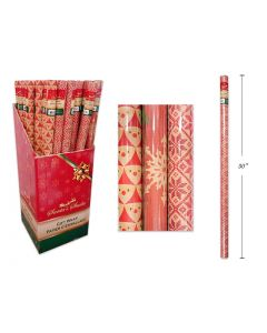 """Christmas Single Roll Kraft Wrapping Paper ~ 30"""" x 72"""""""