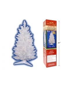 Christmas 2' White Mini Tree with LED Lights ~ Battery Operated