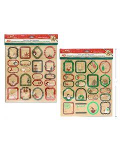 Christmas Kraft Foil Peel & Stick Gift Tags ~ 40 per pack