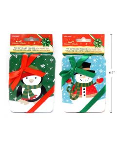 Christmas Tin Gift Card Holder with Ribbon
