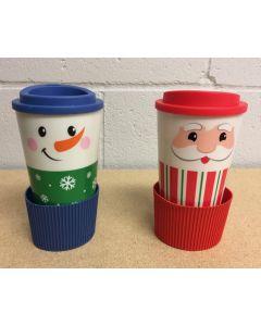Christmas Double Wall Printed Coffe Mug with Silicone Band ~ 16oz