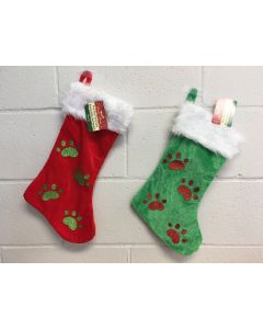 "Christmas Velour Glitter Paw Patch Pet Stocking w/White Cuff ~ 18"""