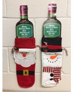 """Christmas Wine Bottle Felt Gift Bag with Drawstring ~ 14"""""""