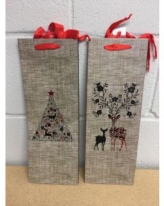 Bottle Christmas Gift Bag ~ Burlap Look