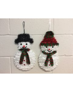 Christmas Tinsel Snowman w/Scarf Wall Hanging Decoration