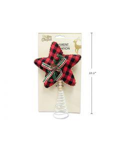 "Christmas Mini Tree Plaid Tartan Star Tree Topper ~ 9"""