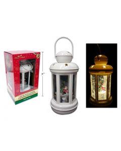 """Christmas LED Swirling Glitter White Lantern with Santa ~ 7-7/8"""""""