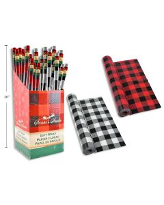 "Christmas Single Roll Wrapping Paper - Buffalo Plaid ~ 30"" x 72"""