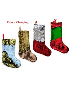 """Christmas Felt Sequin Color Changing Stocking ~ 19""""L"""