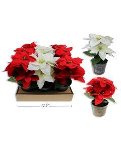 "Christmas Flocked Poinsettia in Plastic Pot ~ 9"""
