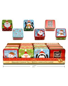 """Christmas Square Cookie Tins - Small ~ 4-1/8""""D"""
