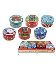 """Christmas Round Cookie Tins - Small ~ 4-1/8""""D"""