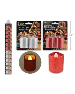 Christmas Glitter Flickering LED Votive Candles ~ 2/pk