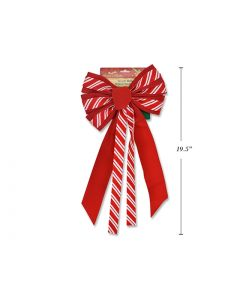"""Christmas Red Velvet with Candy Cane Bow - 7 Loops ~ 10"""" x 20""""L"""