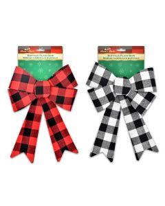 """Christmas Buffalo Plaid Cotton PVC Bow - 5 Loops ~ 9.5"""" x 14.75""""L"""